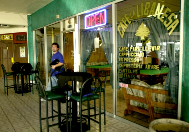 The owner of Cafe La Libanesa inTijuana, Mexico, Salim Boughader Mucharrafille, not shown,was arrested in 2002 by the United States on charges of smuggling people.