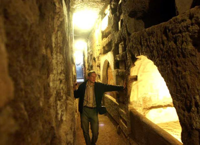 Leonard Rutgers stands in the Jewish Villa Torlonia catacomb, which he and his colleague have determined was begun a century before the oldest Christian catacombs in Rome.