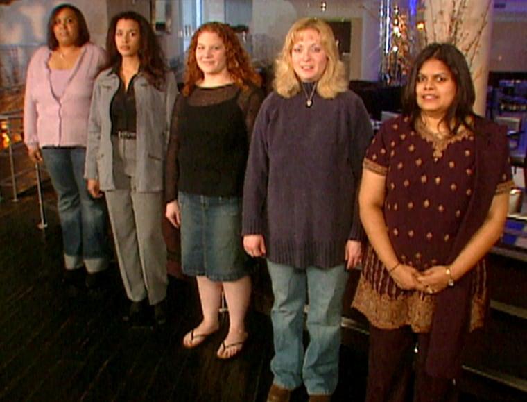 The brave brides: (L-R) Lisa Shumpert, Michelle Stewart, Courtney Prathafakis, Danelle Hlavacek Hlaveck, and Minnie Matthew.