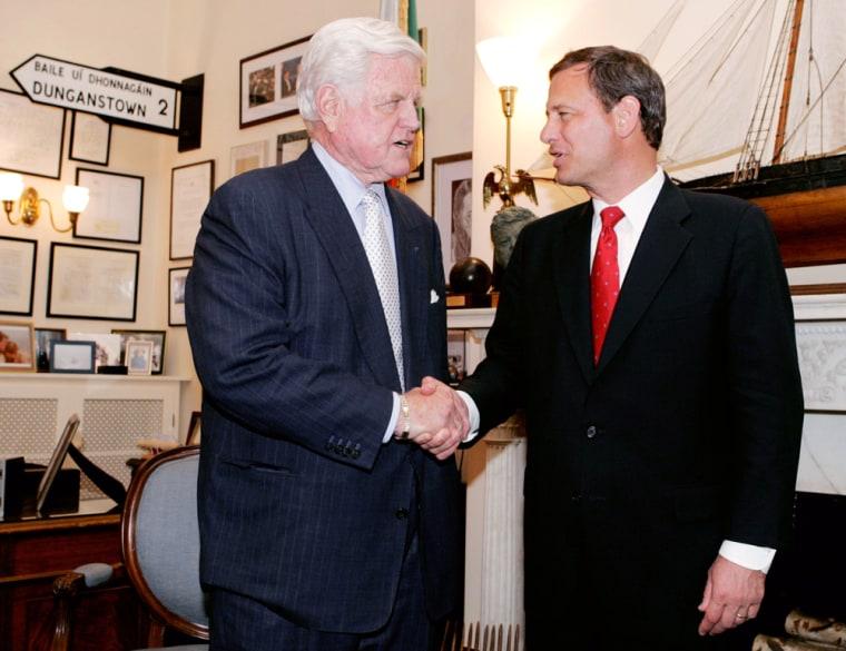 US Circuit Judge John Roberts meets with Massachusetts Senator Edward Kennedy on Capitol Hill