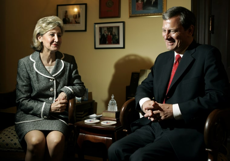 Supreme Court nominee John Robertsmeets with Sen. Kay Bailey Hutchison, R-Texas., on Tuesday in her office on Capitol Hill.