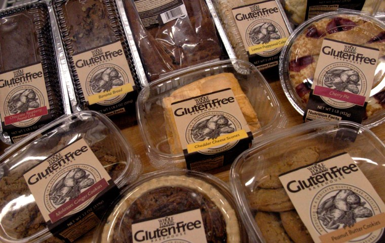 """A sample of some of the 27 gluten-free products are displayed at the Whole Foods Market Gluten-Free Bakehouse in Morrisville, N.C. Each label reads """"Produced in a Dedicated Gluten-Free Facility."""" Once banished to the dusty bottom shelves of obscure grocers, the gluten-free revolution is surfacing in the aisles of major supermarkets."""