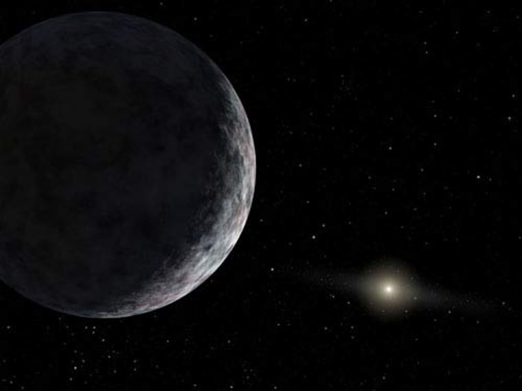An artist's conception shows 2003 UB313, the purported 10th planet. Astronomers say the frozen worldis larger than Pluto. The sun is in the far background.