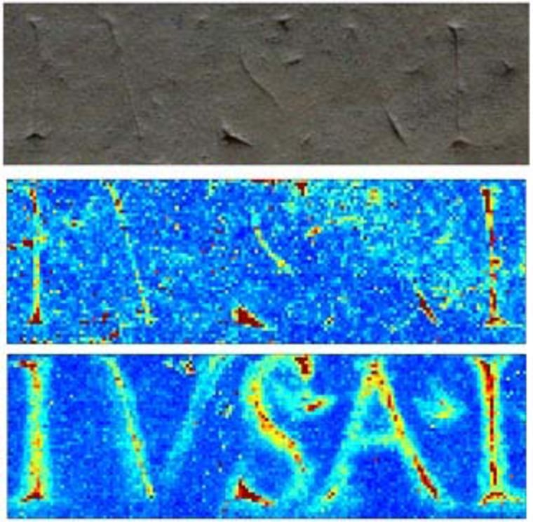 The letters of an ancient inscription are hard to make out in the original stone (top). The middle panel reveals the effects of iron fluorescence, and at bottom, the inscription is revealed in false colors, thanks to an analysis of elements in the stone.