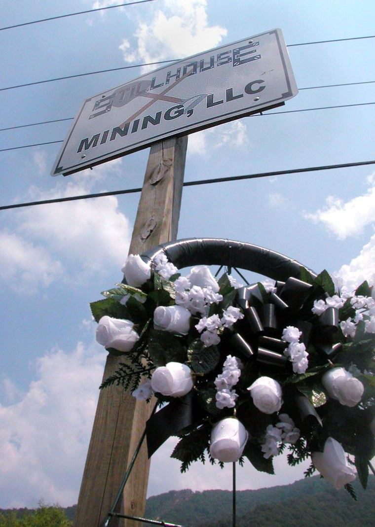 A wreath stands at the entrance to the Stillhouse Mining Mine No. 1 outside Cumberland, Ky.,on Thursday after the roof of the coal mine collapsed suddenly, killing one miner.
