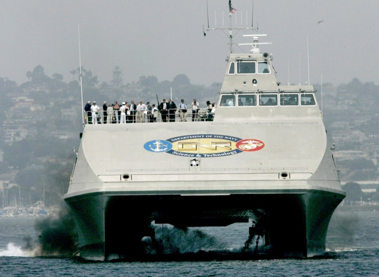 The U.S. Navy's Sea Fighter heads into port on Aug. 1 in San Diego. The Sea Fighter, an experimental aluminum catamaran that can cross an ocean without refueling and reach speeds up to 50 knots, would be the Navy's fastest vessel.
