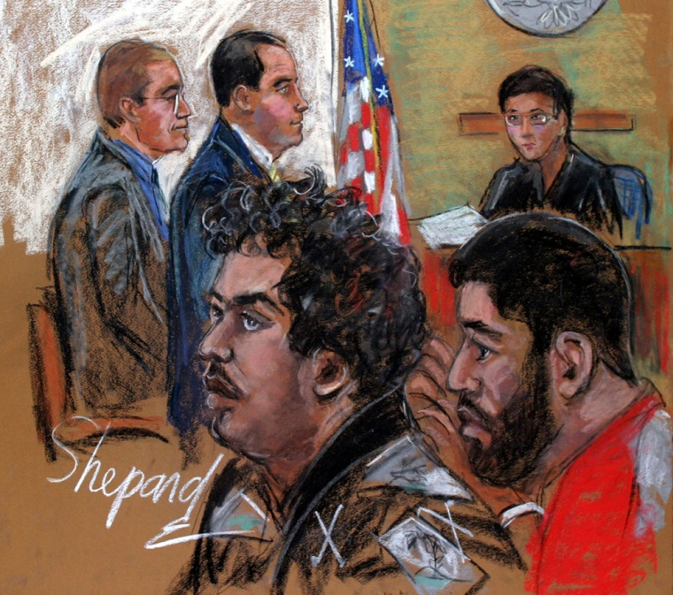 James Elshafay, center, and Shahawar Matin Siraj, right, charged with conspiring to attack a New York subway station with bombs hidden in backpacks, are shown in this courtroom sketch during their August 2004 arraignment before Magistrate Kiyo Matsumoto with Asst. U.S. Attorneys John Nathanson, left, and Kelly Currie.