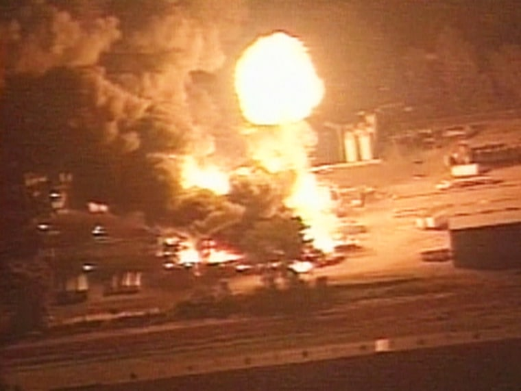 Flames and smoke rise from the E.Q. Resource Recovery Inc. chemical plant near Detroit, Michigan, after a series of explosions.