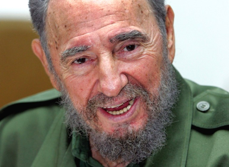 File photo of Cuban President Castro speaking at meeting in Cuba