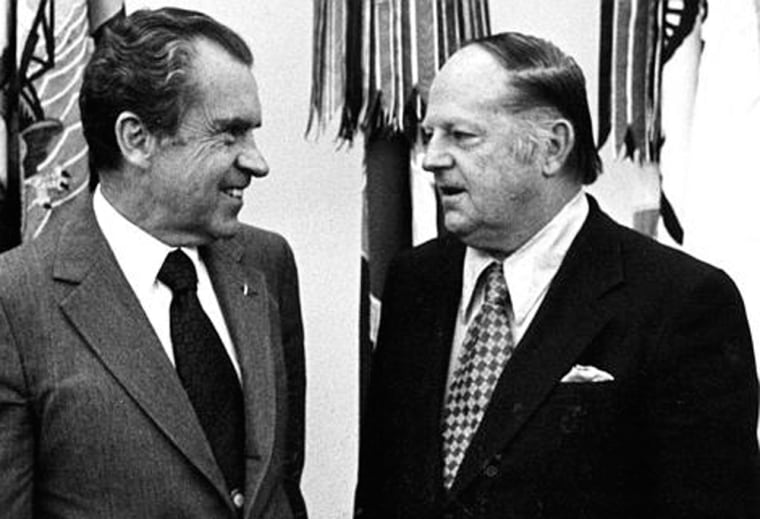 Former Rep. William Jennings Bryan Dorn meets with President Nixon in this undated file photo. Dorn, who served western South Carolina in the U.S. House for nearly three decades, died on Saturday. He was 89.