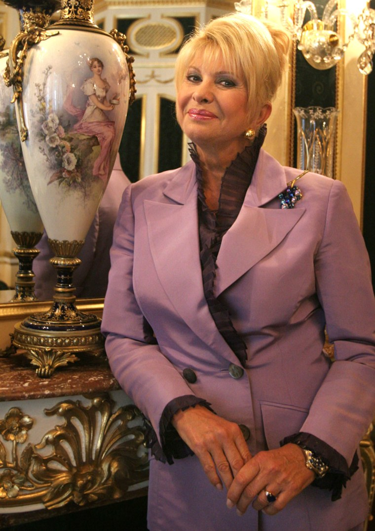 """Ivana Trump poses in her home in New York on Aug. 17. """"I always felt very secure and very safe with real estate. Real estate always appreciates,"""" she said in an interview."""