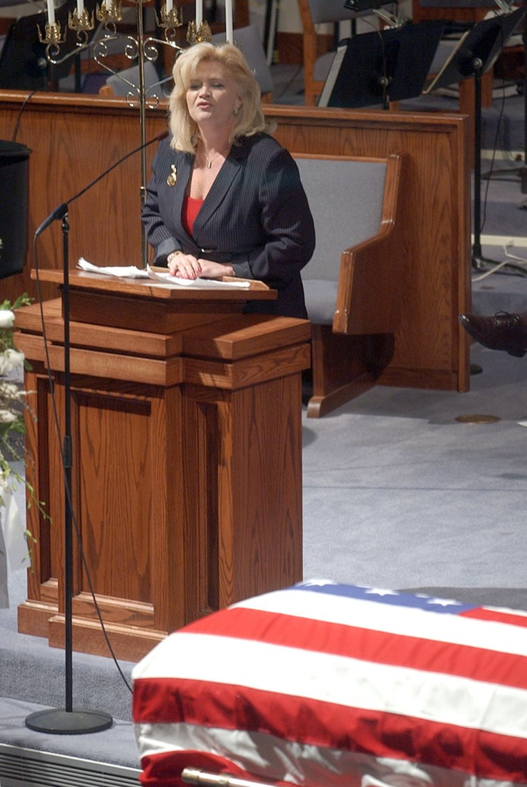 Lance Cpl. Christopher J. Dyer's mother, Kathy Dyer, speaks during his memorial service in West Chester, Ohio