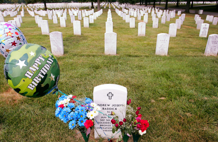 Martell's makes markers like this one, adorning the grave of a fallen American soldier at Arlington National Cemetery in Arlington, Va.