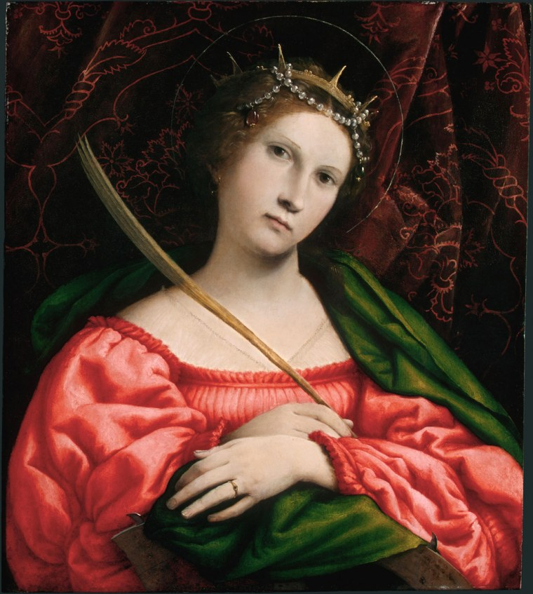 """Venetian artist Lorenzo Lotto's """"Saint Catherine."""" Asenior conservation scientist at the National Gallery of Art discovered artists had mixed tiny bits of glass with their pigments, which enhanced the glint of the colors."""