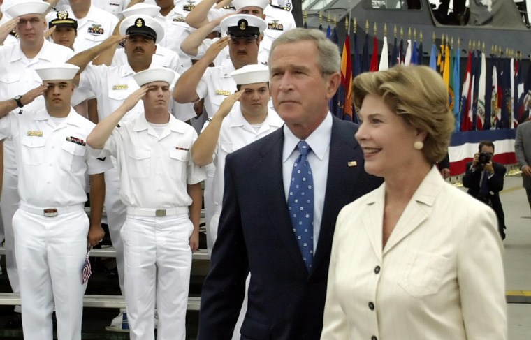 US President Bush and first lady arrive for V-J Day speech in San Diego, California