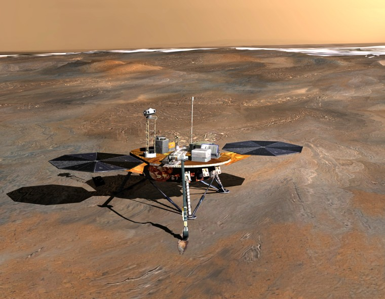 An artist's conception shows the Phoenix lander on the surface of Mars' north polar region, with a sheet of ice in the background.