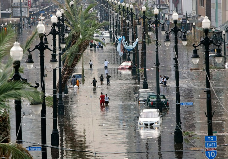A view of Canal Street that is flooded with water in New Orleans