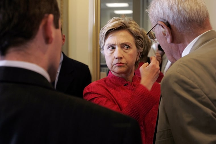 Sen. Hillary Rodham Clinton, D-N.Y., before a press conference Tuesday in which she pushed legislation to take FEMA back out of the Department of Homeland Security.