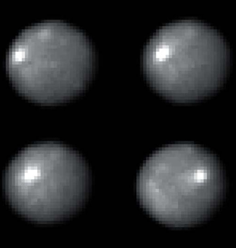 Snapshots of the asteroid 1 Ceres taken by the Hubble Space Telescope provide clues about the asteroid's interior make-up. The bright spot that appears in each image is a mystery.