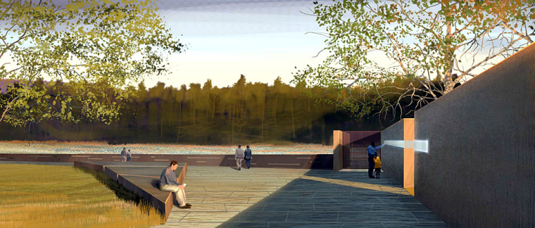 This illustration, released by Paul Murdoch Architects, shows the Sept. 11, 2001, crash site of United Airlines Flight 93 and the western side of the proposed memorial plaza, two aspects of the winning design of the Flight 93 memorial.