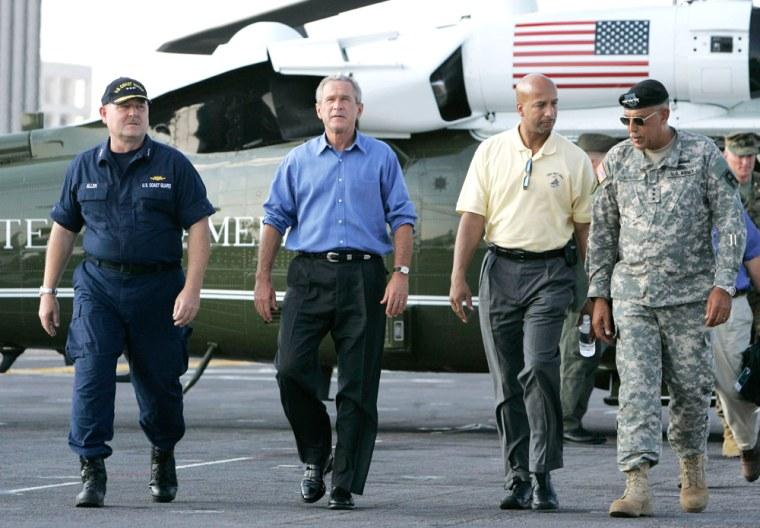 U.S. President George W Bush lands on the USS Iwo Jima in New Orleans