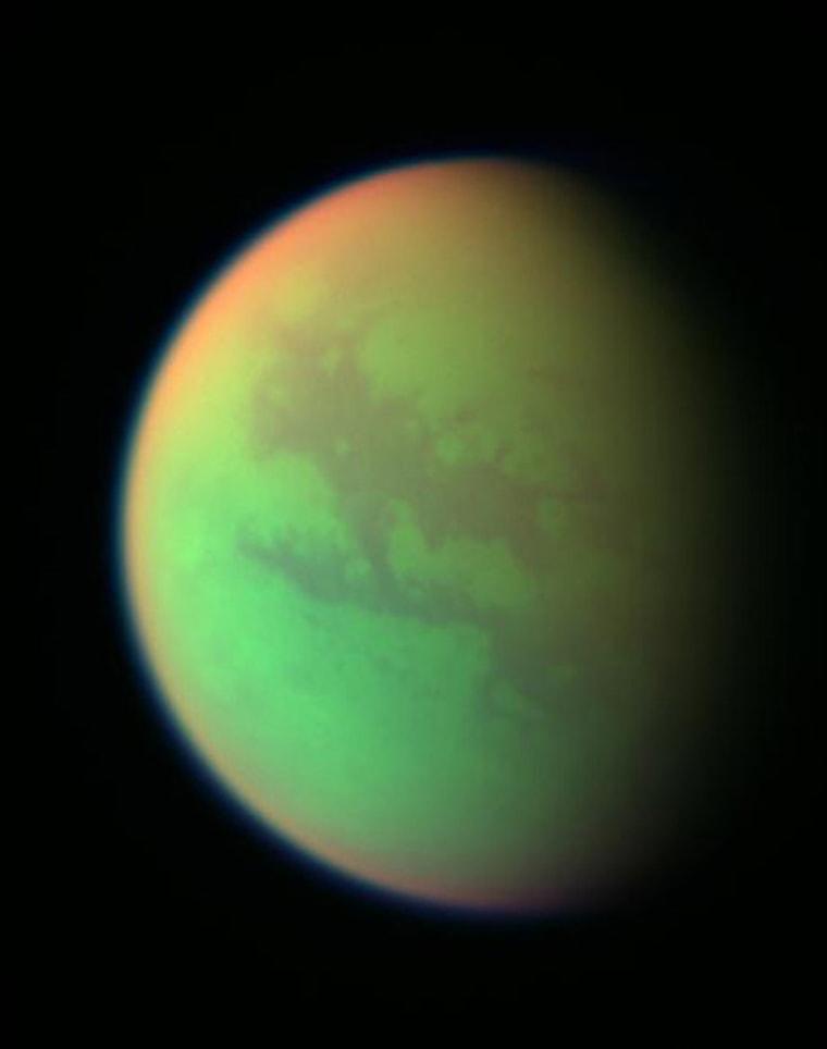 False color image of Saturn's moon Titan.