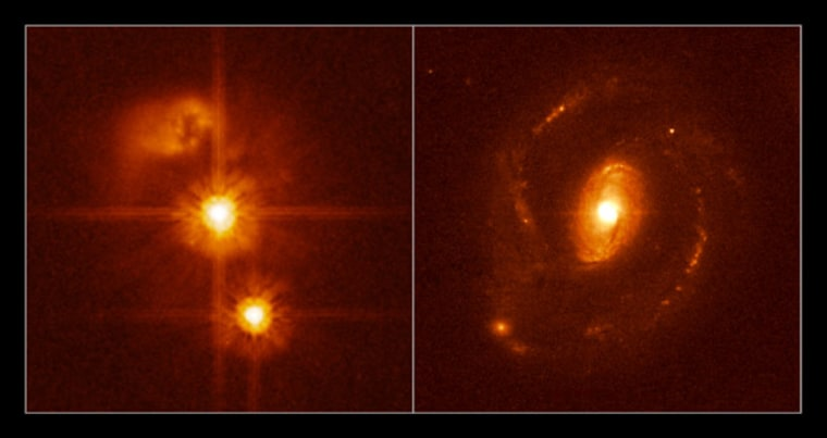 This figure shows two Hubble images of quasars from a sample of 20 relatively nearby quasars. Quasar HE0450-2958 (left) appears to lack a host galaxy unlike HE1239-2426 (right), which resides inside a normal host galaxy that displays large spiral arms.