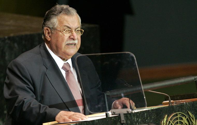 Iraqi President Jalal Talabani addresses the United Nations General Assembly on Thursday.