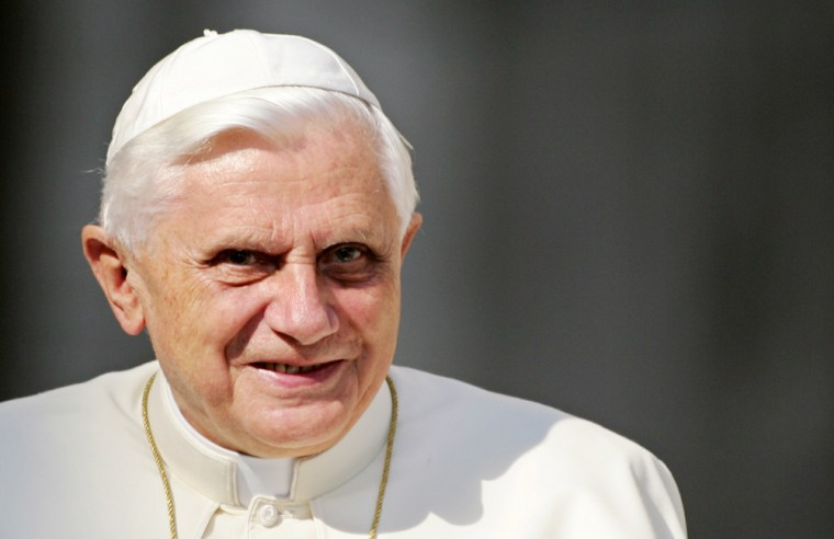 Pope Benedict XVI smiles as he arrives o
