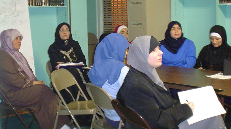 A group of Latina converts to Islam participate in a class at the Islamic Education Center of North Hudson, in Union City, N.J.