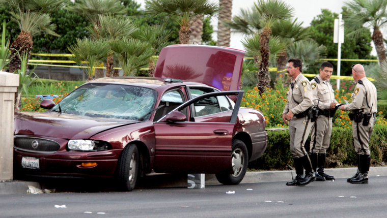 Las Vegas police at the scene of Wednesday'sdeadly crash.