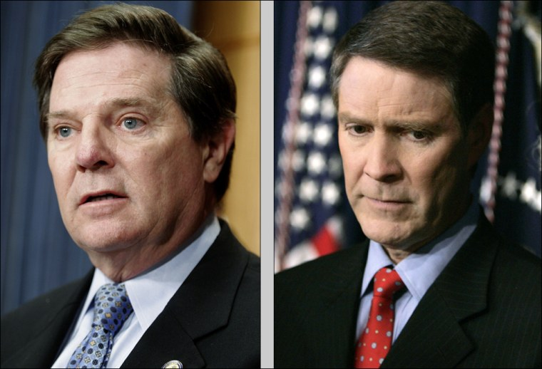 Ethics investigations into Bill Frist, righ, in the Senate and Tom DeLay in the House could not come at a worse time for Republicans, already struggling to maintain their image as a midterm election year approaches.