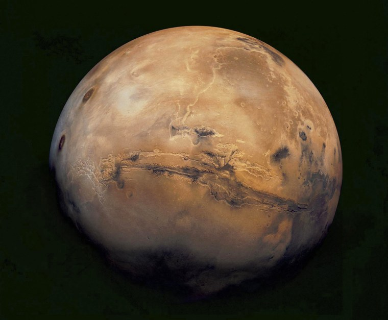 This mosaic of Mars is a compilation of images captured by the Viking Orbiter 1.