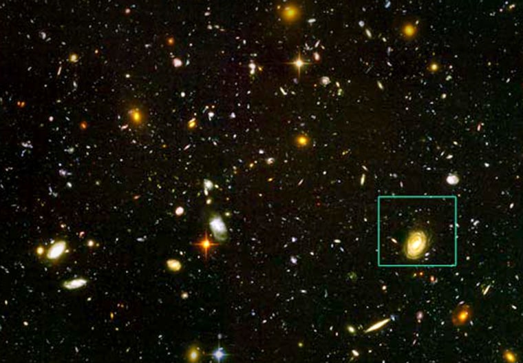 TheHUDF-JD2 galaxy, is pinpointed in this view ofa small area of sky called the Hubble Ultra Deep Field. This is the deepest image of the universe ever made at optical and near-infrared wavelengths.