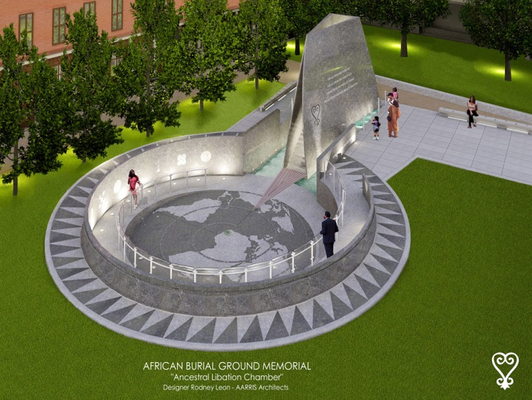 An artist's rendering of the African burial ground memorial in New York, agranite memorial to be erected on theburial site that was the final resting place to as many as 20,000 slaves and free blacks.