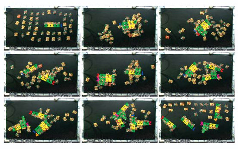 These images show, from left to right in each row, the sequence of self assembly by the miniature robots.