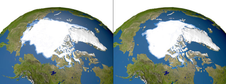 The satellite image on the left shows the minimum concentration of Arctic sea ice in 1979, while the image on the right shows the concentration of sea ice recorded on Sept. 21. New satellite observations show that sea ice in the Arctic is melting faster while air temperatures in the region are rising sharply, scientists say.