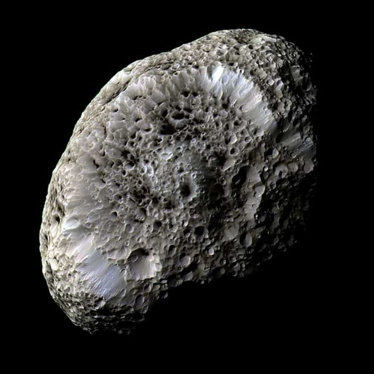 This false-color view of Hyperion reveals crisp details and differences in color across the moon's surface that could represent differences in the composition of surface materials.