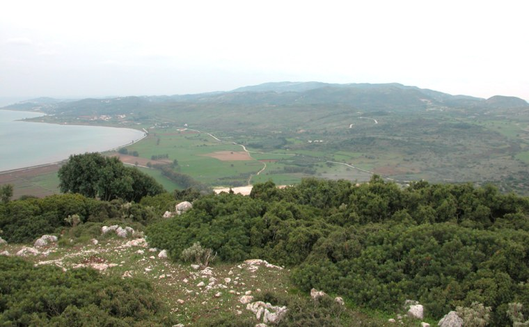 """The low-lying peninsula of Paliki, seen in this view from Kastelli, was once a separate island. In a new book, amateurarchaeologist Robert Bittlestone claims that it was the site ofancient Ithaca, home of Odysseus in Homer's """"Odyssey."""""""