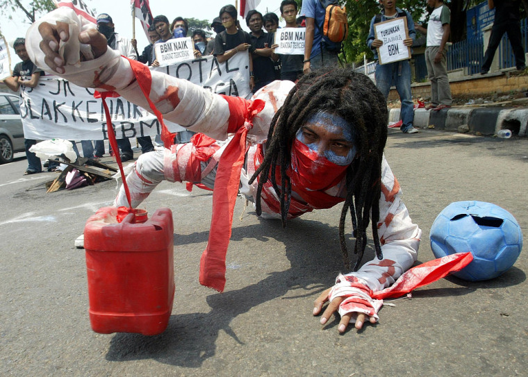 Indonesian student perform during anti-government protest in Jakarta