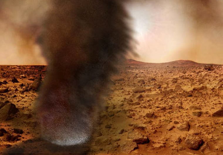 An artist's concept illustrating what an electrified Martian dust devil might look like. The whitish glow near the bottom is the result of an electrical discharge.