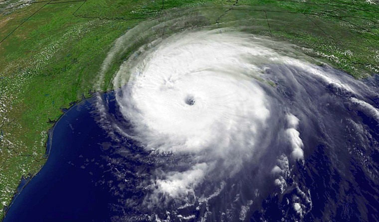 NOAA satellite image of Hurricane Rita as the Category 3 storm heads northwest toward the Texas and Louisiana borders
