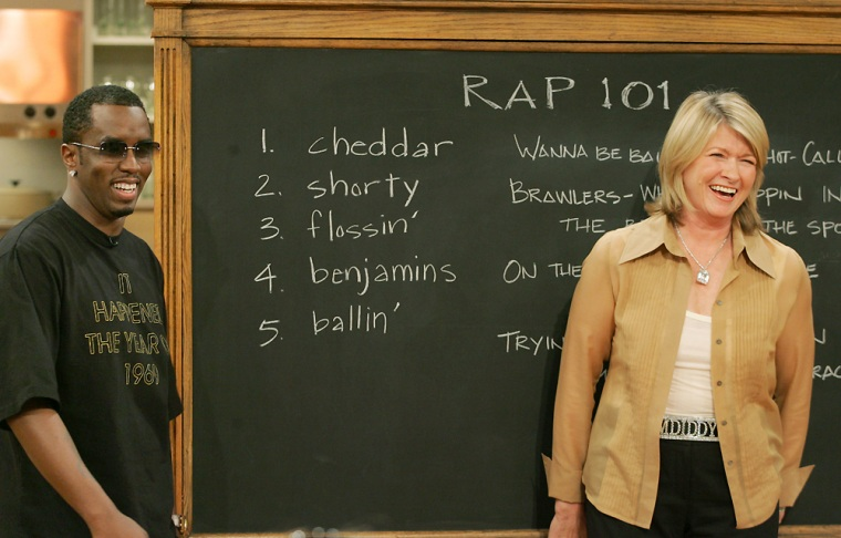 """Sean """"Diddy"""" Combsjoined host Martha Stewart at the blackboard for her first lesson in """"Rap 101"""" on the set of """"Martha"""" in New York onSept. 15."""