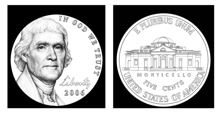 This artist rendering shows the front and back of the new nickel that will go into production in 2006.