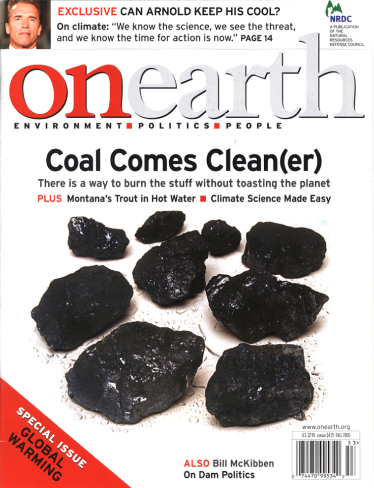 Thefall issue of Onearth, a publication by the Natural Resources Defense Council, includes a cover story on the possibilities of cleaner coal.