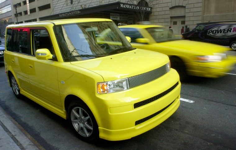 """A """"solar yellow"""" Scion limited-production xB Release Series 2.0 isshown here in New York. Only 2,500 units of the xB Release Series 2.0 are available at Scion dealers in the U.S."""