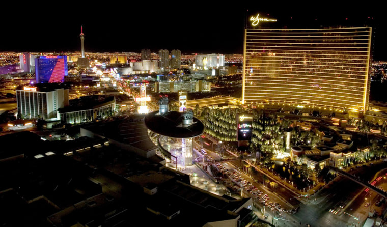 The Wynn Las Vegas is seen from the roof of the Treasure Island Hotel and Casino on the Strip in Las Vegas