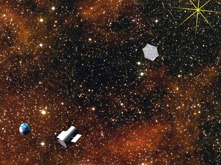 """An artist's conception shows the New Worlds Imager's """"starshade"""" placed between a distant star system and a space telescope. The starshade would help funnel the dim light from distant planets into the telescope."""