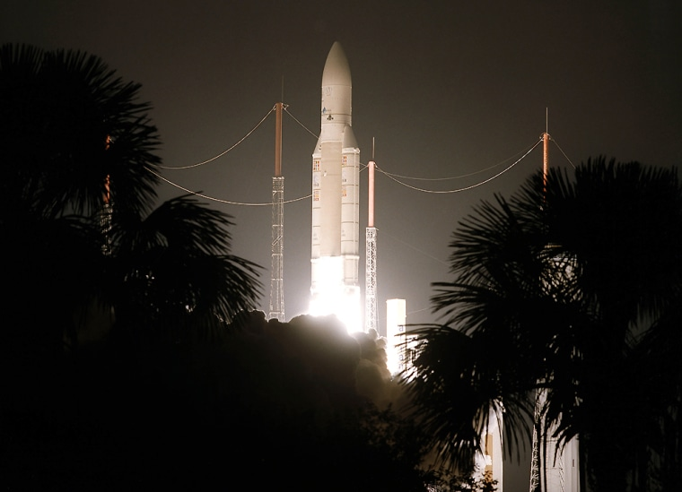 An Ariane 5 launch vehicle lifts off from the European Space Agency's launch pad in French Guiana on Thursday, carrying two satellites into orbit.