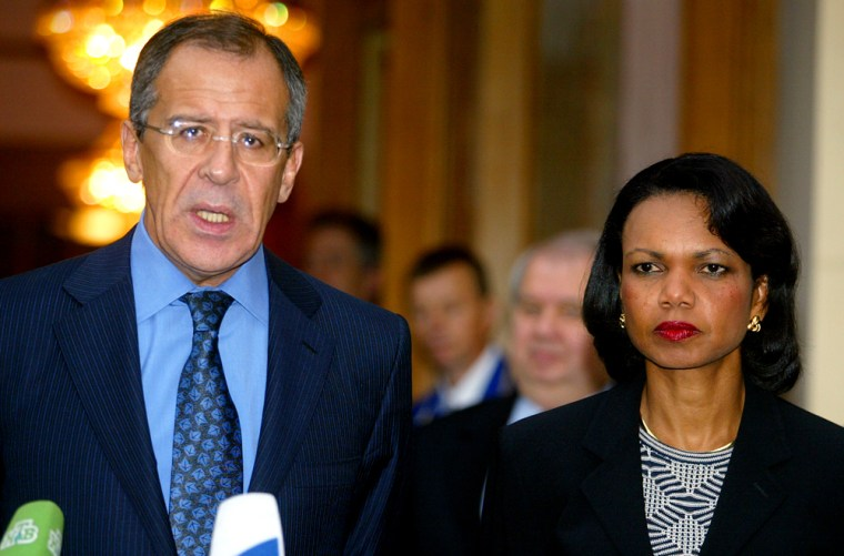 U.S. Secretary of State Condoleezza Rice listens as Russia's Foreign Minister Sergey Lavrov speaks to the media during a joint news conference after their meeting in Moscow, on Saturday.